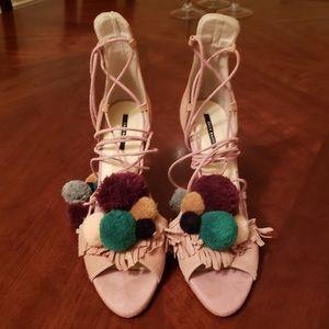 Zara pink pom pom heels